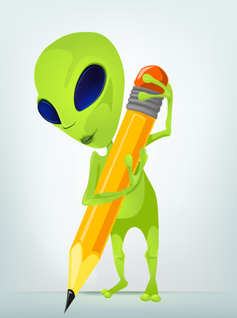 Cartoon Character Funny Alien Isolated on Grey Gradient Background. Writer . Stock Photo
