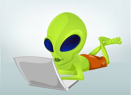 wireless network: Cartoon Character Funny Alien Isolated on Grey Gradient Background. Coder. Stock Photo