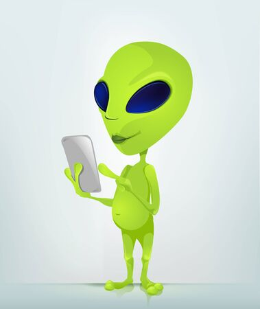 tabletpc: Cartoon Character Funny Alien Isolated on Grey Gradient Background. Tablet User.