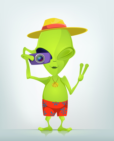 Cartoon Character Funny Alien Isolated on Grey Gradient Background. Tourist Photographer. Stock Photo