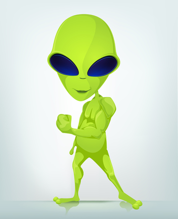 Cartoon Character Funny Alien Isolated on Grey Gradient Background. Diet.