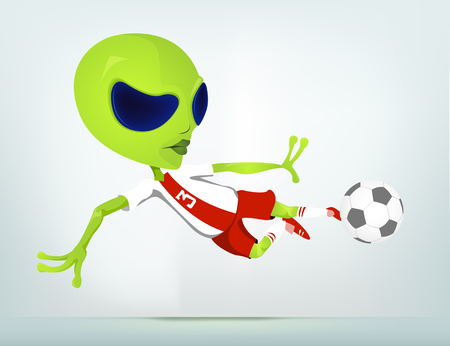 Cartoon Character Funny Alien Isolated on Grey Gradient Background. Soccer.