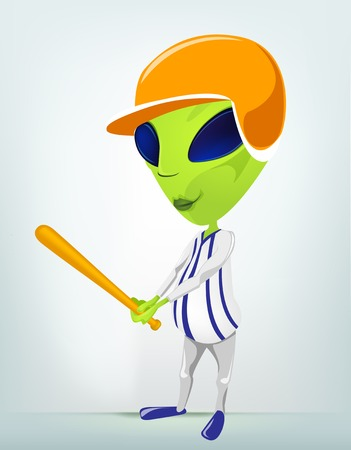 invade: Cartoon Character Funny Alien Isolated on Grey Gradient Background. Baseball.