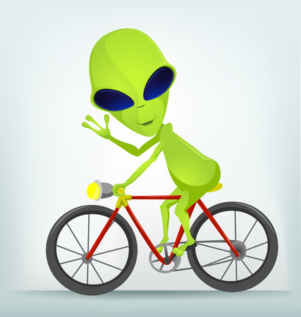 bicycler: Cartoon Character Funny Alien Isolated on Grey Gradient Background. Biker.