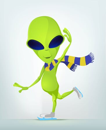 Cartoon Character Funny Alien Isolated on Grey Gradient Background. Skater.