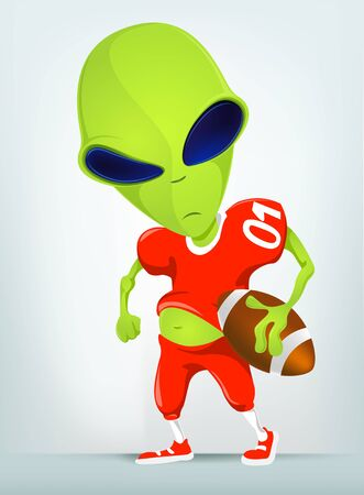 shove: Cartoon Character Funny Alien Isolated on Grey Gradient Background. Rugby.