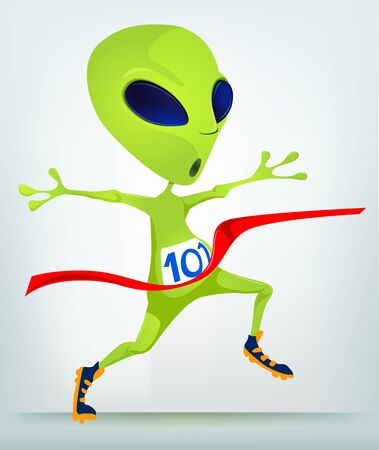 Cartoon Character Funny Alien Isolated on Grey Gradient Background. Finish. Stock Photo