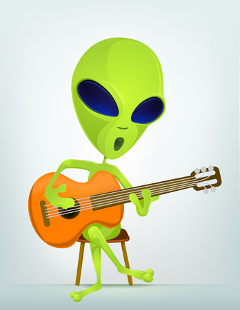 bard: Cartoon Character Funny Alien Isolated on Grey Gradient Background. Guitarist.