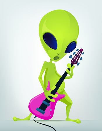 Cartoon Character Funny Alien Isolated on Grey Gradient Background. Rock Star. Stock Photo