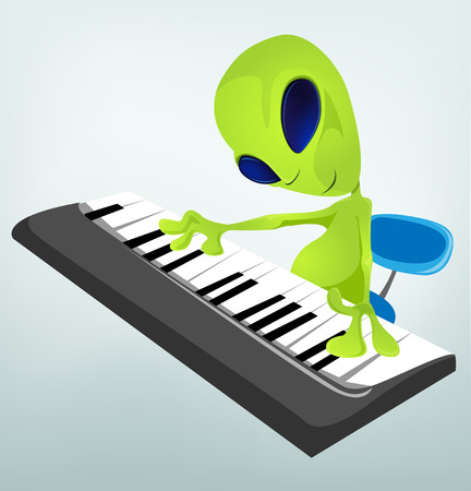 Cartoon Character Funny Alien Isolated on Grey Gradient Background. Pianist.