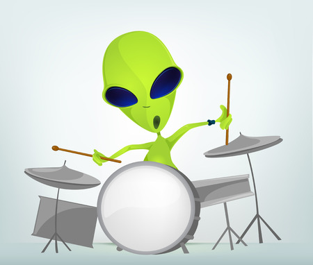 drummer: Cartoon Character Funny Alien Isolated on Grey Gradient Background. Drummer.