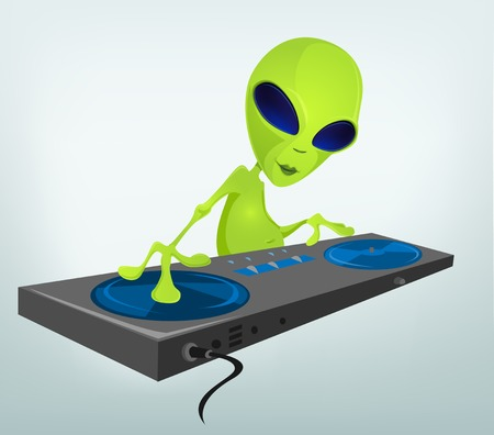 invade: Cartoon Character Funny Alien Isolated on Grey Gradient Background. DJ. Stock Photo