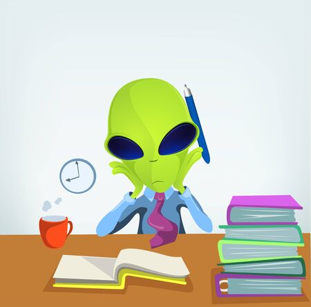 computer operator: Cartoon Character Funny Alien Isolated on Grey Gradient Background. Clerk.