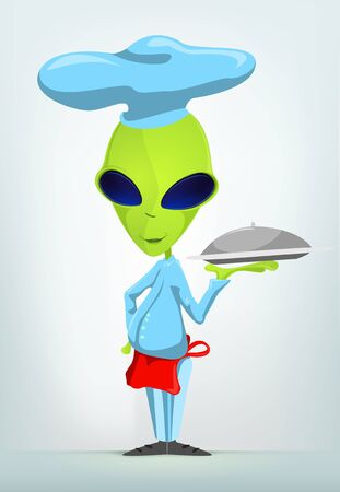 whites: Cartoon Character Funny Alien Isolated on Grey Gradient Background. Chef.