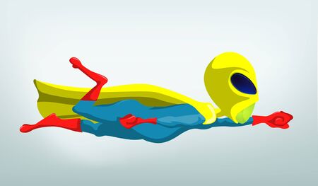 Cartoon Character Funny Alien Isolated on Grey Gradient Background. Super hero. Stock Photo