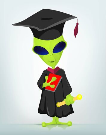 Cartoon Character Funny Alien Isolated on Grey Gradient Background. Student. EPS 10.