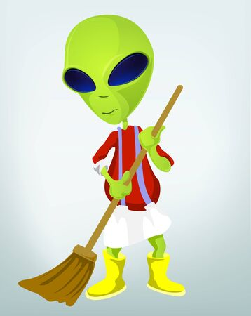 Cartoon Character Funny Alien Isolated on Grey Gradient Background. Cleaner. Stock Photo