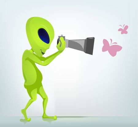 Cartoon Character Funny Alien Isolated on Grey Gradient Background. Photographer.