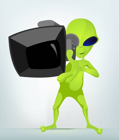 cameraman: Cartoon Character Funny Alien Isolated on Grey Gradient Background. Cameraman. Stock Photo