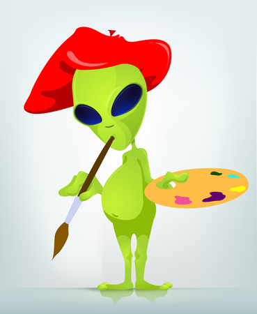 invade: Cartoon Character Funny Alien Isolated on Grey Gradient Background. Artist. Stock Photo