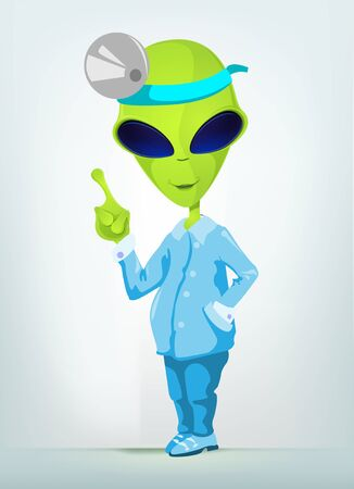 Cartoon Character Funny Alien Isolated on Grey Gradient Background. Doctor. Stock Photo