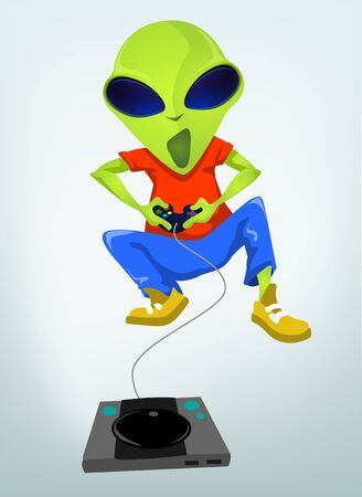 gamer: Cartoon Character Funny Alien Isolated on Grey Gradient Background. Gamer.