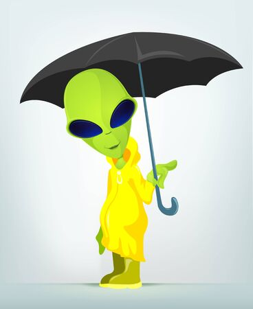 Cartoon Character Funny Alien Isolated on Grey Gradient Background. Under umbrella.