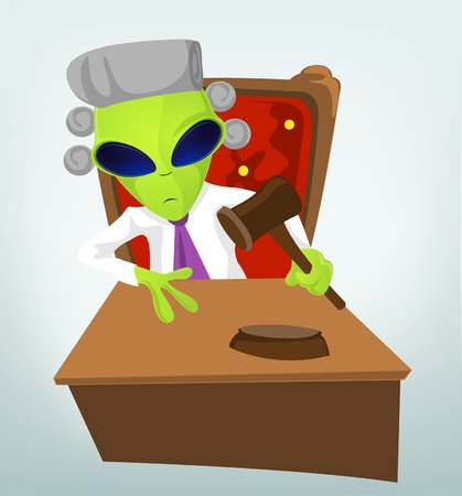 Cartoon Character Funny Alien Isolated on Grey Gradient Background. Judge.