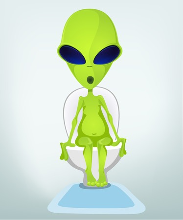 Cartoon Character Funny Alien Isolated on Grey Gradient Background. WC.