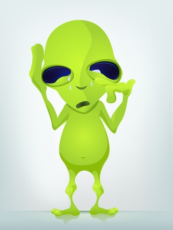 Cartoon Character Funny Alien Isolated on Grey Gradient Background. Cry. Stock Photo