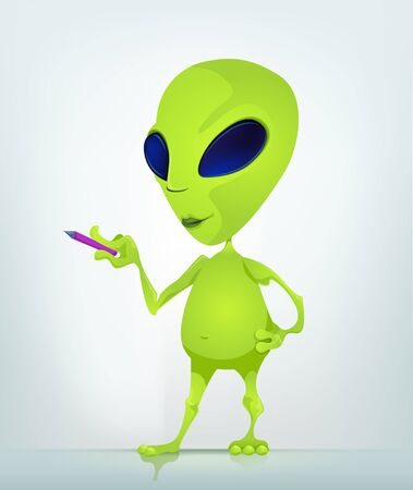 signing papers: Cartoon Character Funny Alien Isolated on Grey Gradient Background. Writer . Stock Photo
