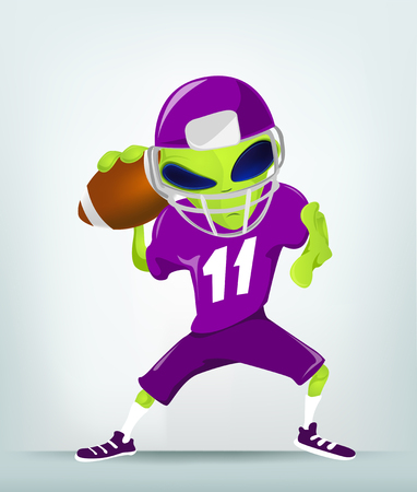 scrum: Cartoon Character Funny Alien Isolated on Grey Gradient Background. Rugby.