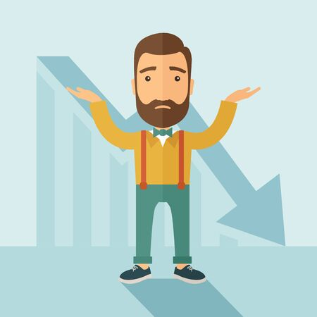 bankruptcy: The man with a beard with falling down chart is confused. Bankruptcy concept.  flat design illustration.