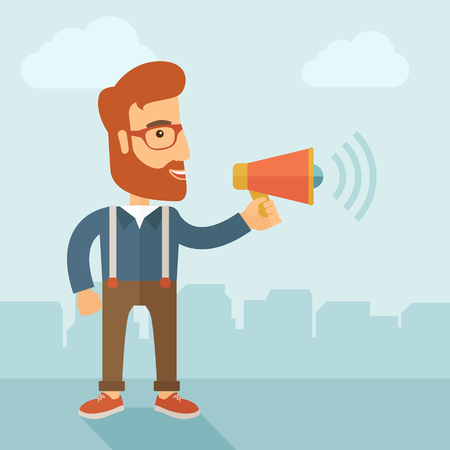 loudness: The businessman with a beard shouting in megaphone. Social media marketing concept.   flat design illustration.