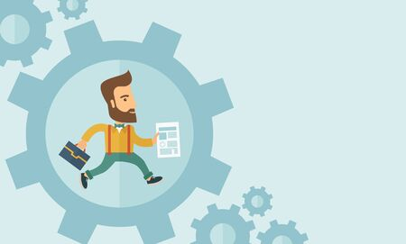 energy work: The man with a beard is running inside the gear. Business in action concept.  flat design Illustration. Horisontal layout with a text space in a right.