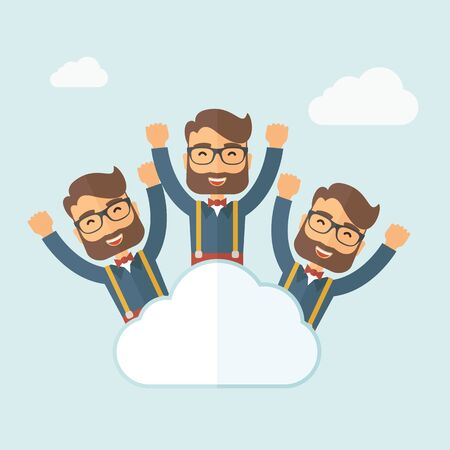Three same face businessmen on top of cloud happy raising hands showing for their success in business career. Business growth. A contemporary style with pastel palette, soft blue tinted background with desaturated clouds. flat design illustration. Square