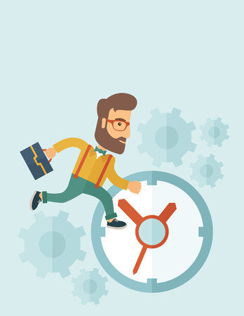Career man with his bag chasing running clock pursuing a deadline of his report. Time management concept. A contemporary style with pastel palette, soft blue tinted background. flat design illustration. Vertical layout with text space on top part.