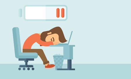 Young tired employee sitting, lying on his table with low power sign on the top of his head need rest, vacation, holiday. A contemporary style with pastel palette, soft blue tinted background. flat design illustration. Horizontal layout with text space in