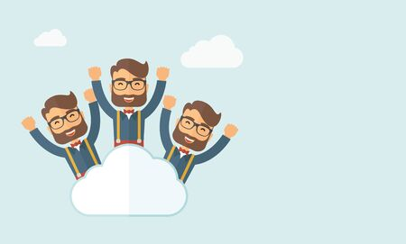 Three same face businessmen on top of cloud happy raising hands showing for their success in business career. Business growth. A contemporary style with pastel palette, soft blue tinted background with desaturated clouds. flat design illustration. Horizon
