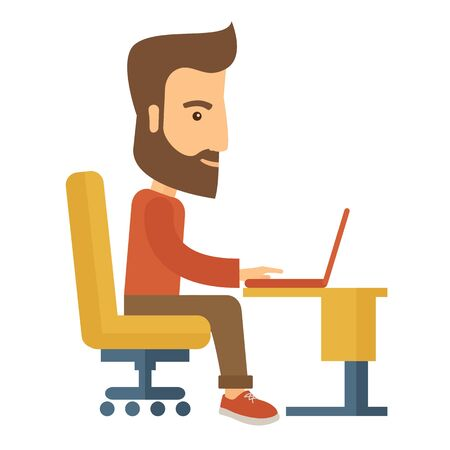 buisnessman: A buisnessman sitting infront of his laptop searching information in computer network. Searching concept. . A contemporary style. flat design illustration with isolated white background. Square layout with text sapce in upper right side.