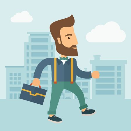 desig: Handsome, young and good looking man positively walking through the city streets to attend a business meeting carrying a briefcase. Business concept. A contemporary style with pastel palette, soft blue tinted background with desaturated clouds. flat desig