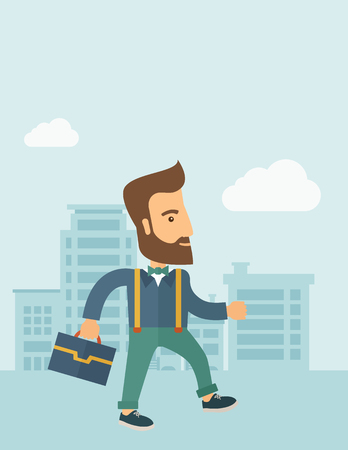 Handsome, young and good looking man positively walking through the city streets to attend a business meeting carrying a briefcase. Business concept. A contemporary style with pastel palette, soft blue tinted background with desaturated clouds. flat desig