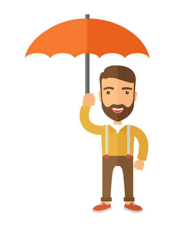 cartoon umbrella: A successful and happy businessman standing with umbrella for his protection. A contemporary style. flat design illustration with isolated white background. Vertical layout with text space in left side.