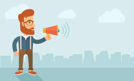 loudness: The businessman with a beard shouting in megaphone. Social media marketing concept.   flat design illustration. Horizontal layout with a text space in a right. Stock Photo