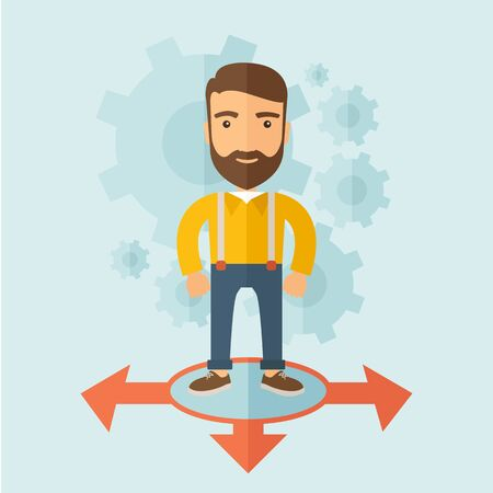 good looking: A young and good looking man standing in circle with 3 arrows on the ground, metaphor to starting or beginning to go straight, right or left. New Beginning cocept. A Contemporary style with pastel palette, soft blue tinted background. flat design illustra