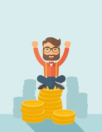 An overjoyed young hipster Caucasian man with beard sitting on the top of  coins. Raising his two hands to show that he is a winner. Happy, winner concept. A contemporary style with pastel palette, soft  blue tinted background. flat design illustration. V