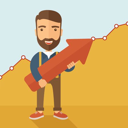 A lucky young  hipster Caucasian man with beard cheerfully carrying a red arrow pointing upward showing for his successful plan in business. Business growth, prosperity concept. A contemporary style with pastel palette, yellow and blue tinted background.