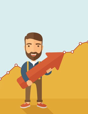 lucky man: A lucky young  hipster Caucasian man with beard cheerfully carrying a red arrow pointing upward showing for his successful plan in business. Business growth, prosperity concept. A contemporary style with pastel palette, yellow and blue tinted background.
