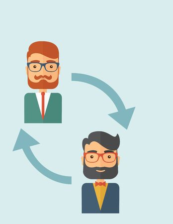 Two young Caucasian gentlemen with beard. Business exchange, emoloyee replacement concept.  A contemporary style with pastel palette, soft blue tinted background. flat design illustration. Vertical layout with text space on the right top corner.