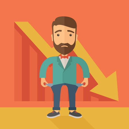 moneyless: Unhappy, sad Caucasian hipster businessman with beard wearing a red bow tie standing with empty pockets.  An arrow pointing downward showing that he is a failure. Loser, broke concept. A contemporary style with pastel palette, orange tinted background. fl Stock Photo